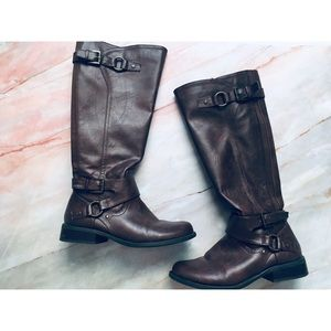 G by Guess dark brown faux leather tall boots